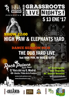 GRASSROOTS LIVE NIGHTS:  High Paw & Elephants Yard